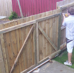 Double fence gates