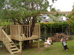 Kid's Tree House with a Slide and Swing-Set